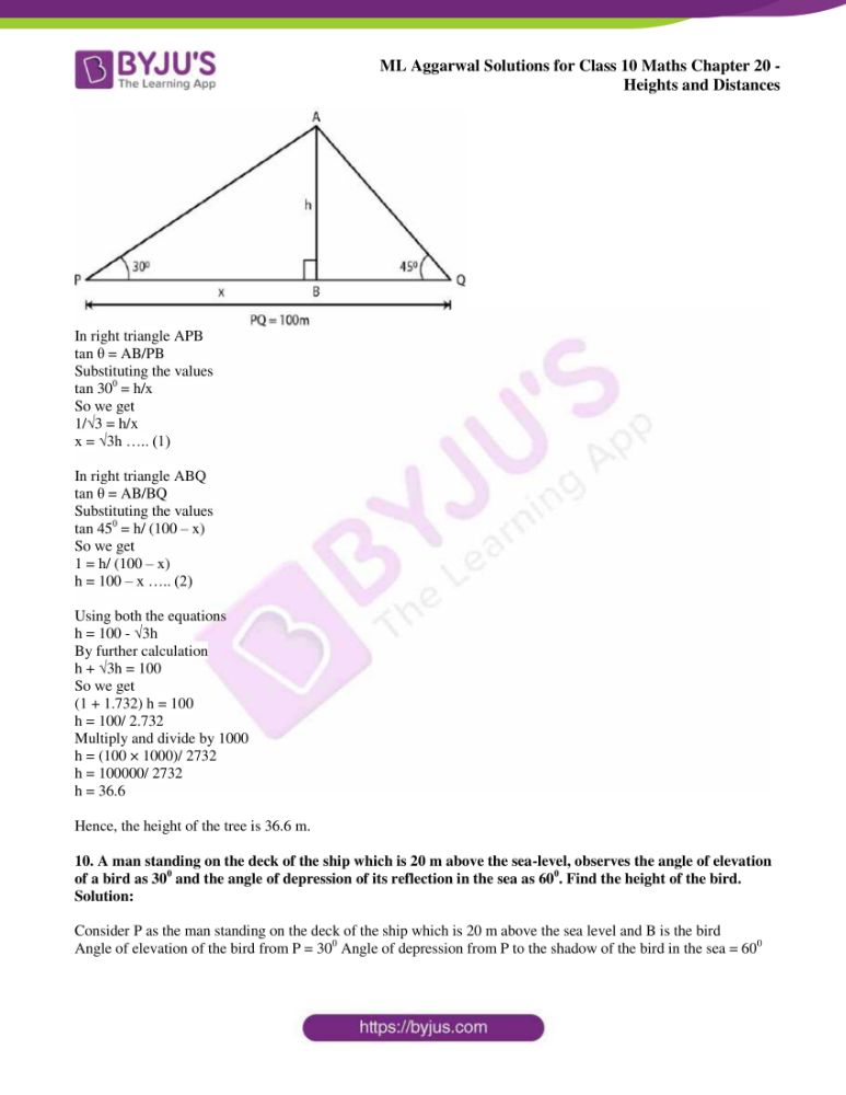 ml aggarwal solutions for class 10 maths chapter 20 heights and distances 43