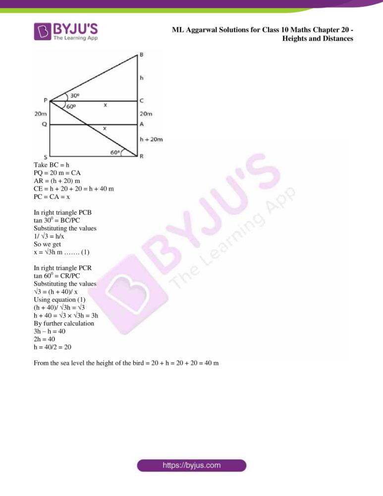 ml aggarwal solutions for class 10 maths chapter 20 heights and distances 44