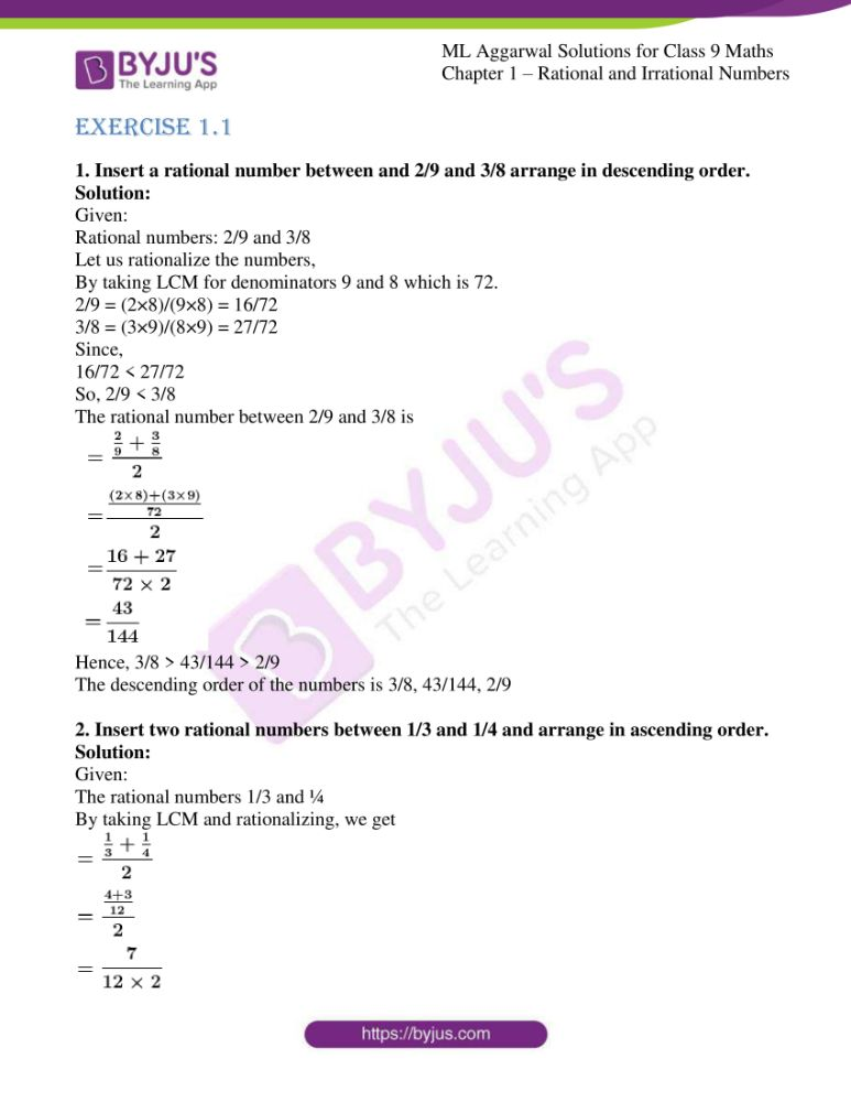 ml aggarwal solutions for class 9 maths chapter 1 01
