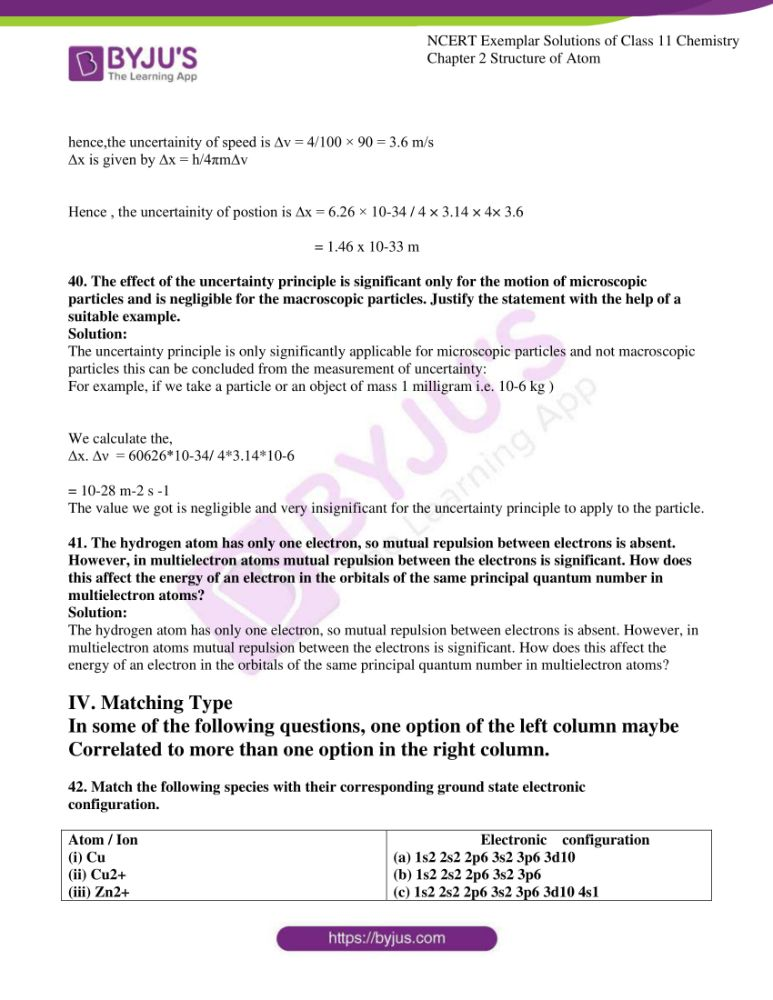 ncert exemplar solutions for class 11 chemistry ch 2 structure 10
