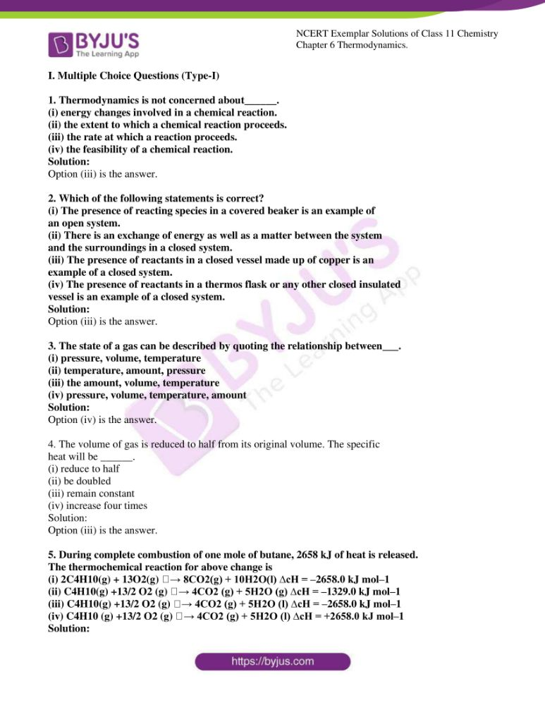 ncert exemplar solutions for class 11 chemistry ch 6 thermodynamics 01