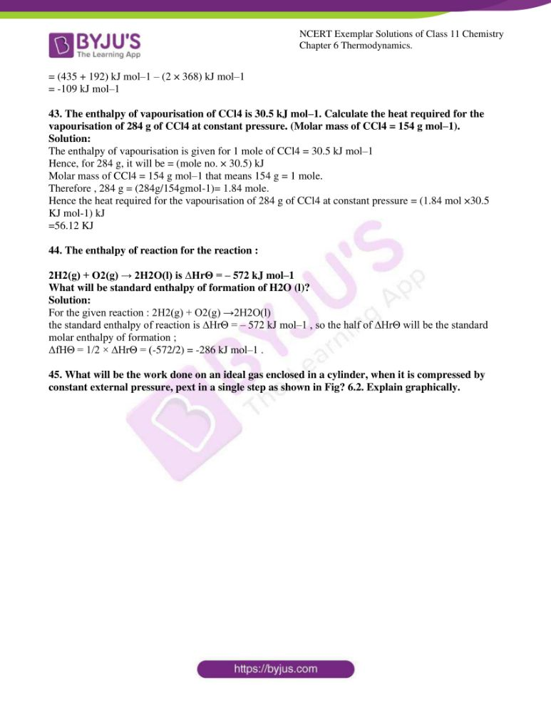 ncert exemplar solutions for class 11 chemistry ch 6 thermodynamics 10