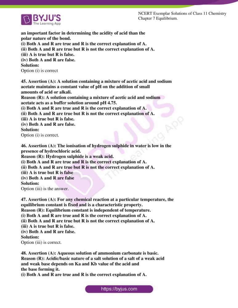ncert exemplar solutions for class 11 chemistry ch 7 equilibrium 13