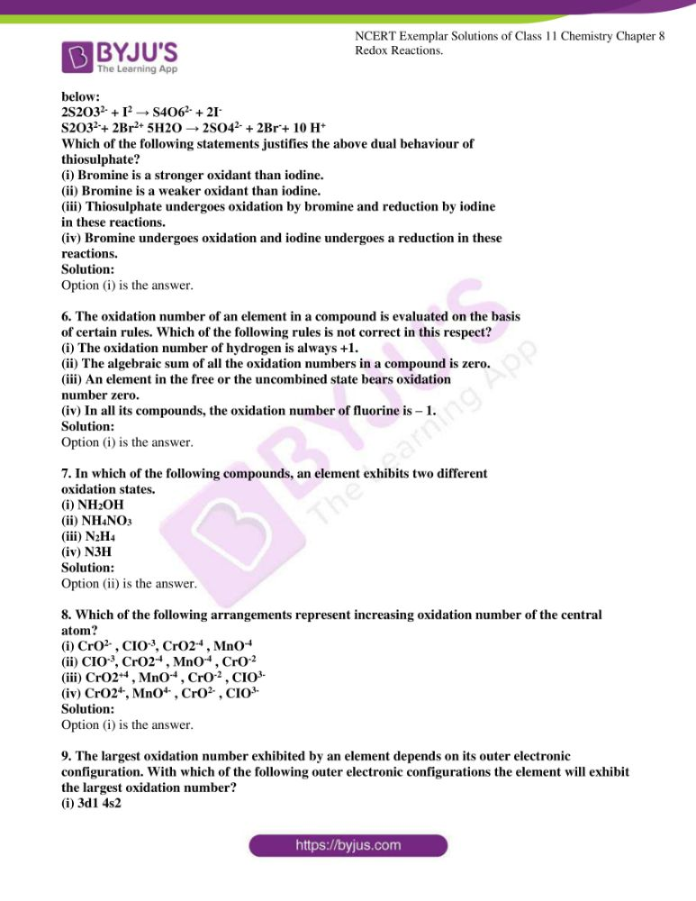 ncert exemplar solutions for class 11 chemistry ch 8 redox 02