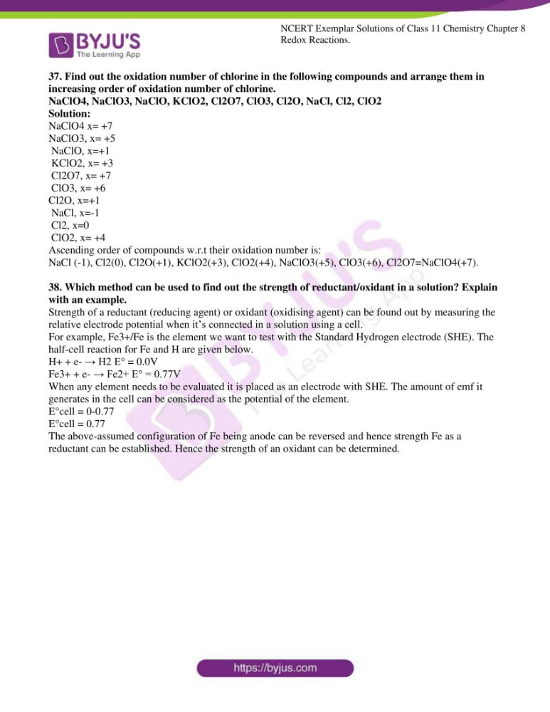 ncert exemplar solutions for class 11 chemistry ch 8 redox 10