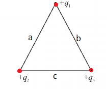 point charges at vertex of triangle