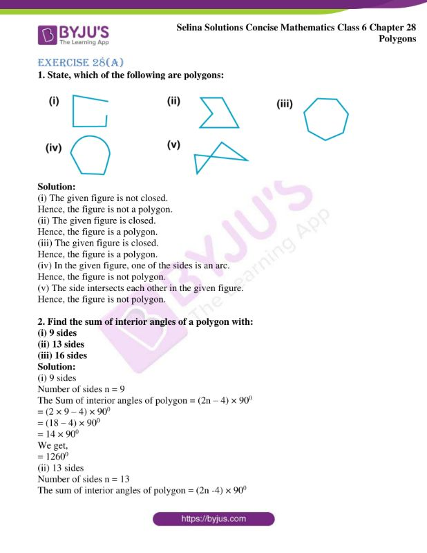 selina solutions concise mathematics class 6 chapter 28 ex a 1