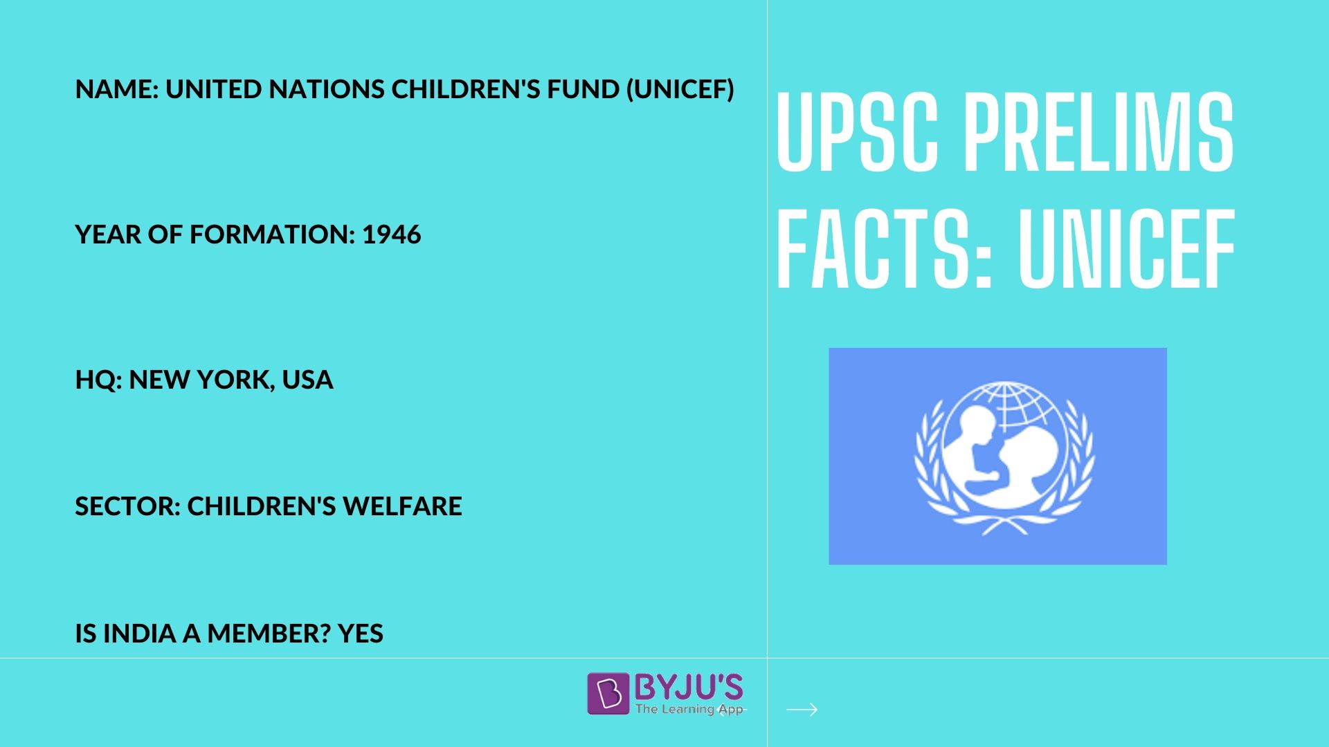 UNICEF - UPSC Prelims Facts