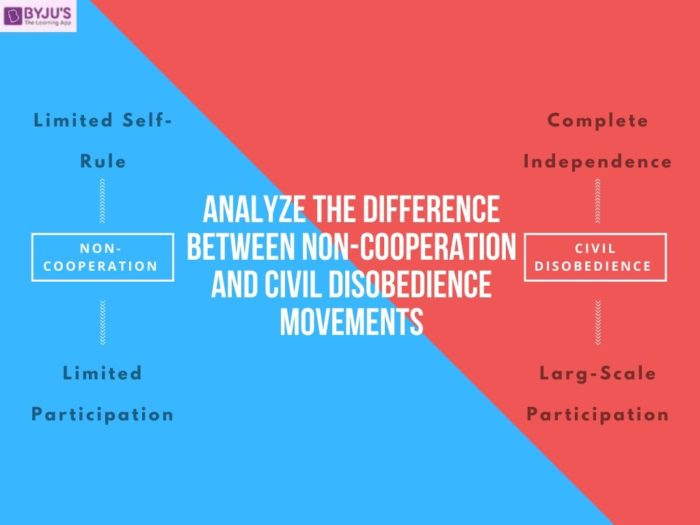Difference Between Non-Cooperation and Civil Disobedience Movement- UPSC Modern Indian History