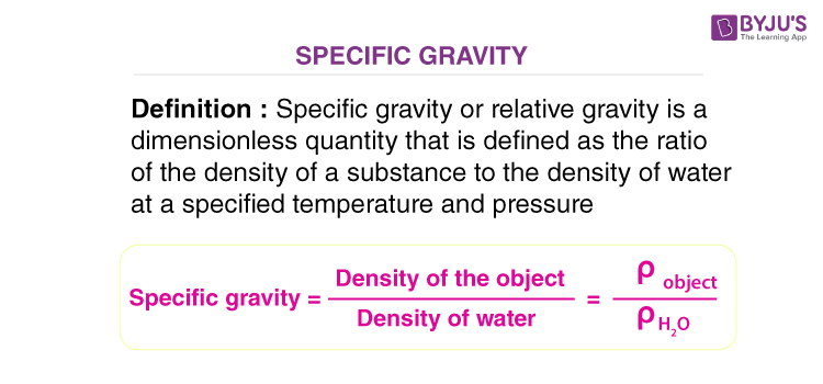 Specific Gravity Definition and Mathematical Expression