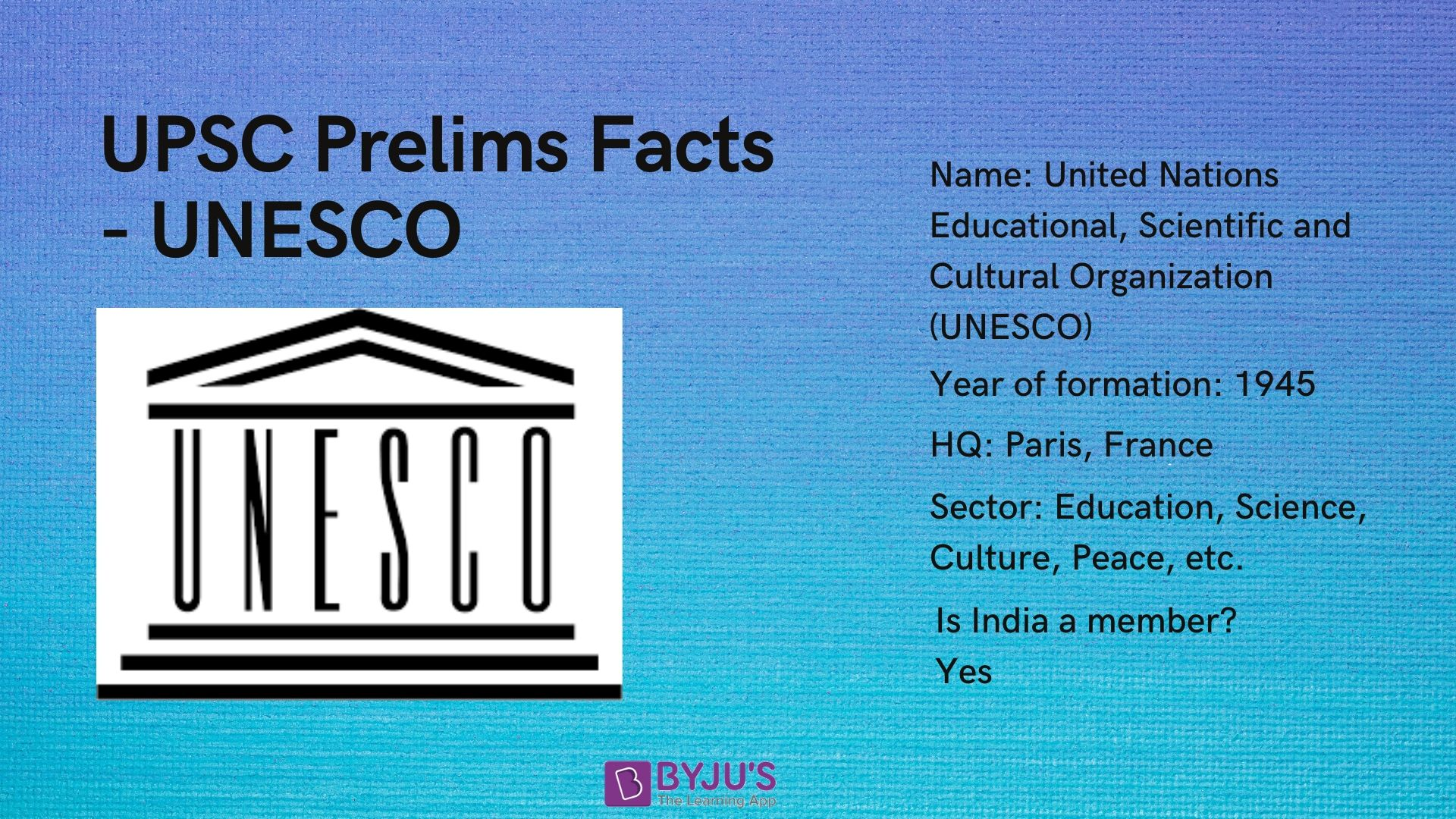 UNESCO - UPSC Prelims Facts