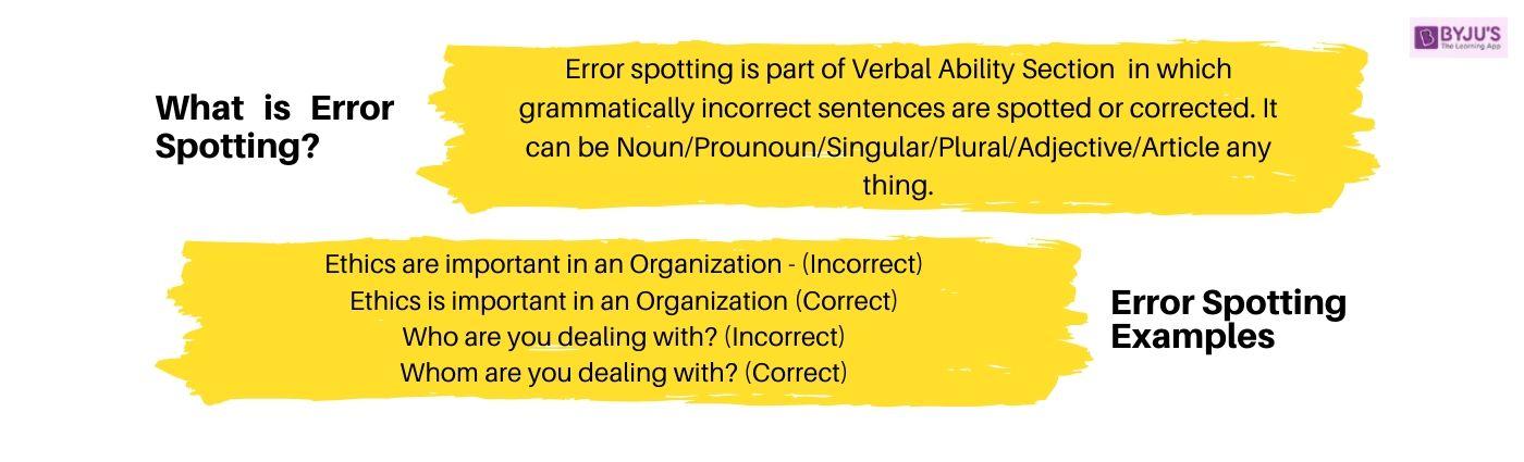 Error Spotting English Grammar