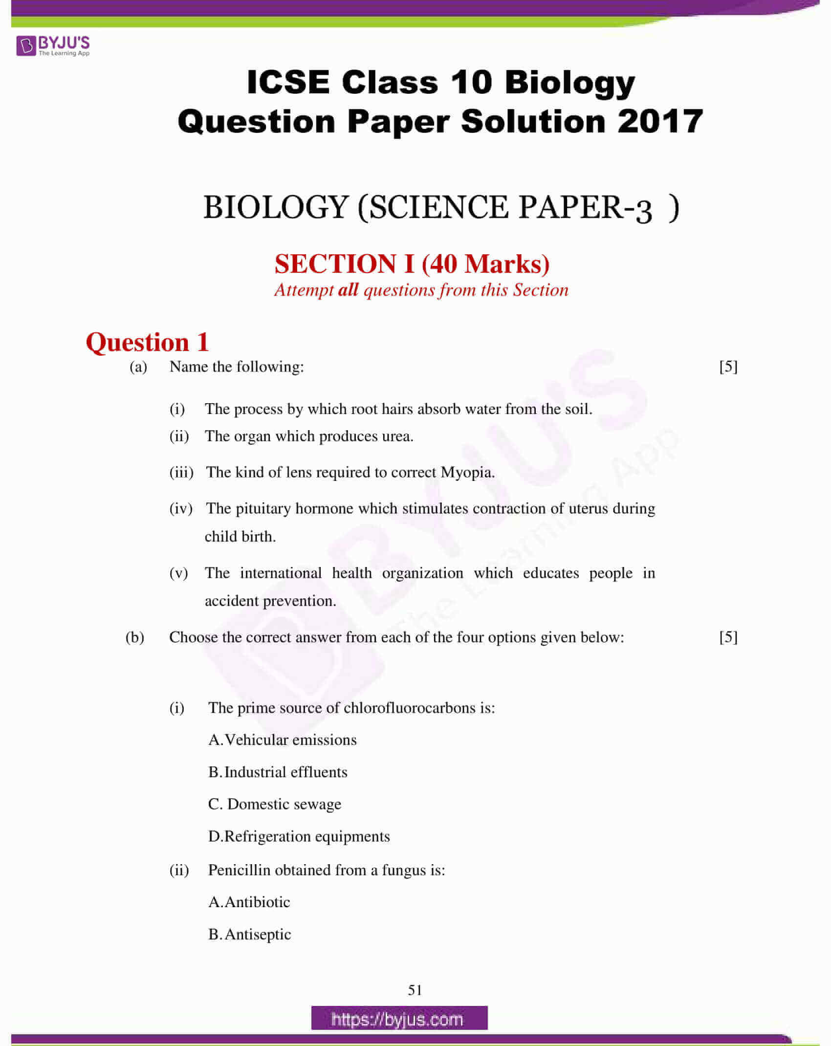 icse class 10 biology question paper solution 2017 01
