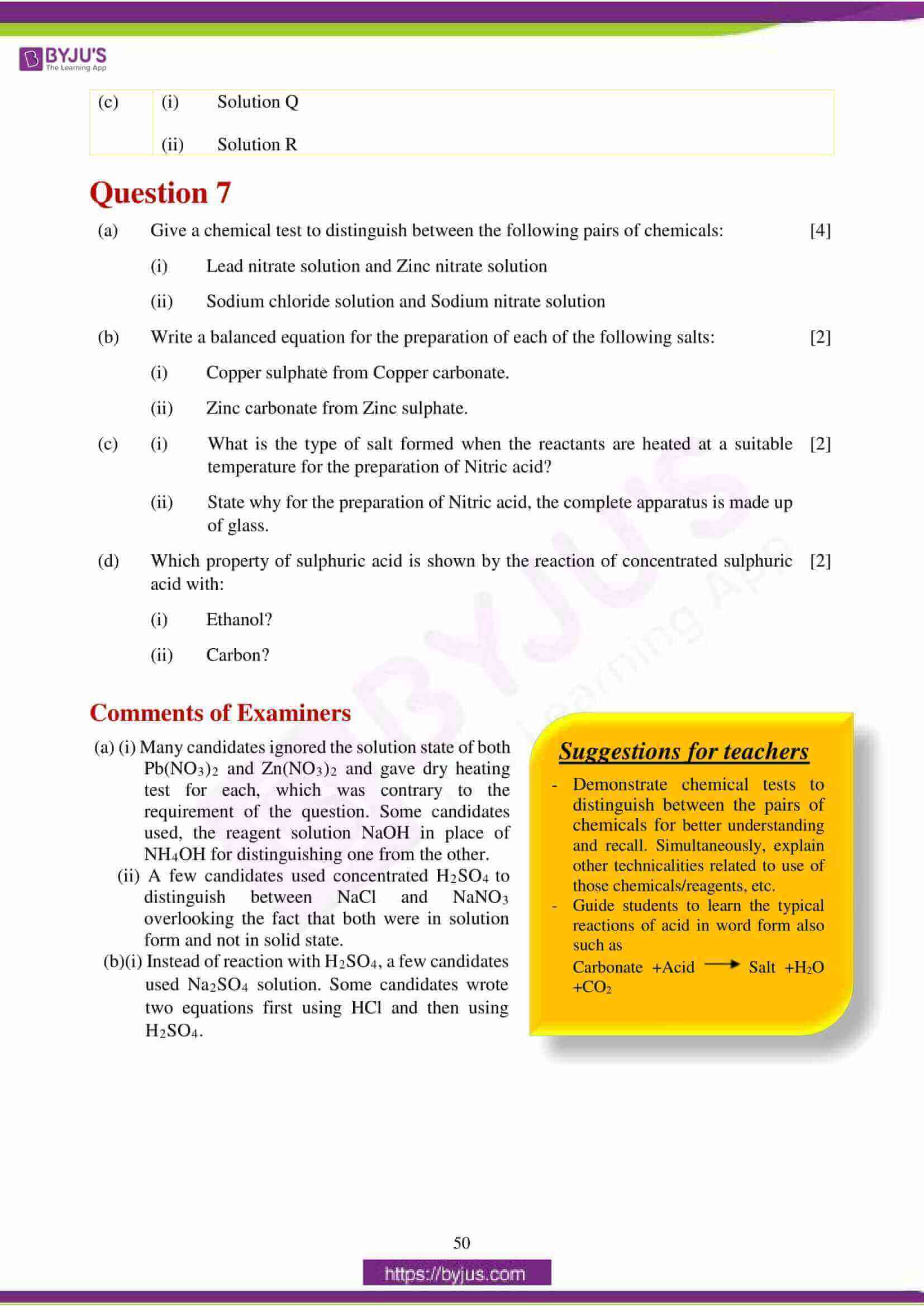 icse class 10 chemistry question paper solution 2018 17