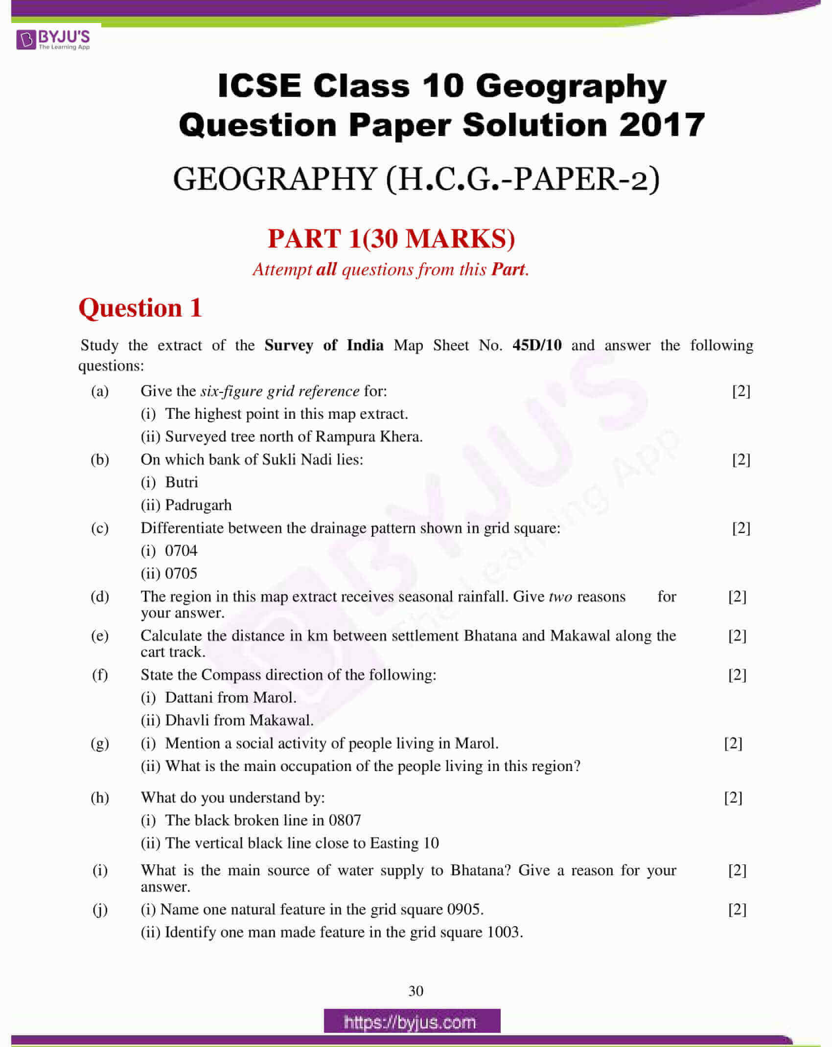 icse class 10 geography question paper solution 2017 01