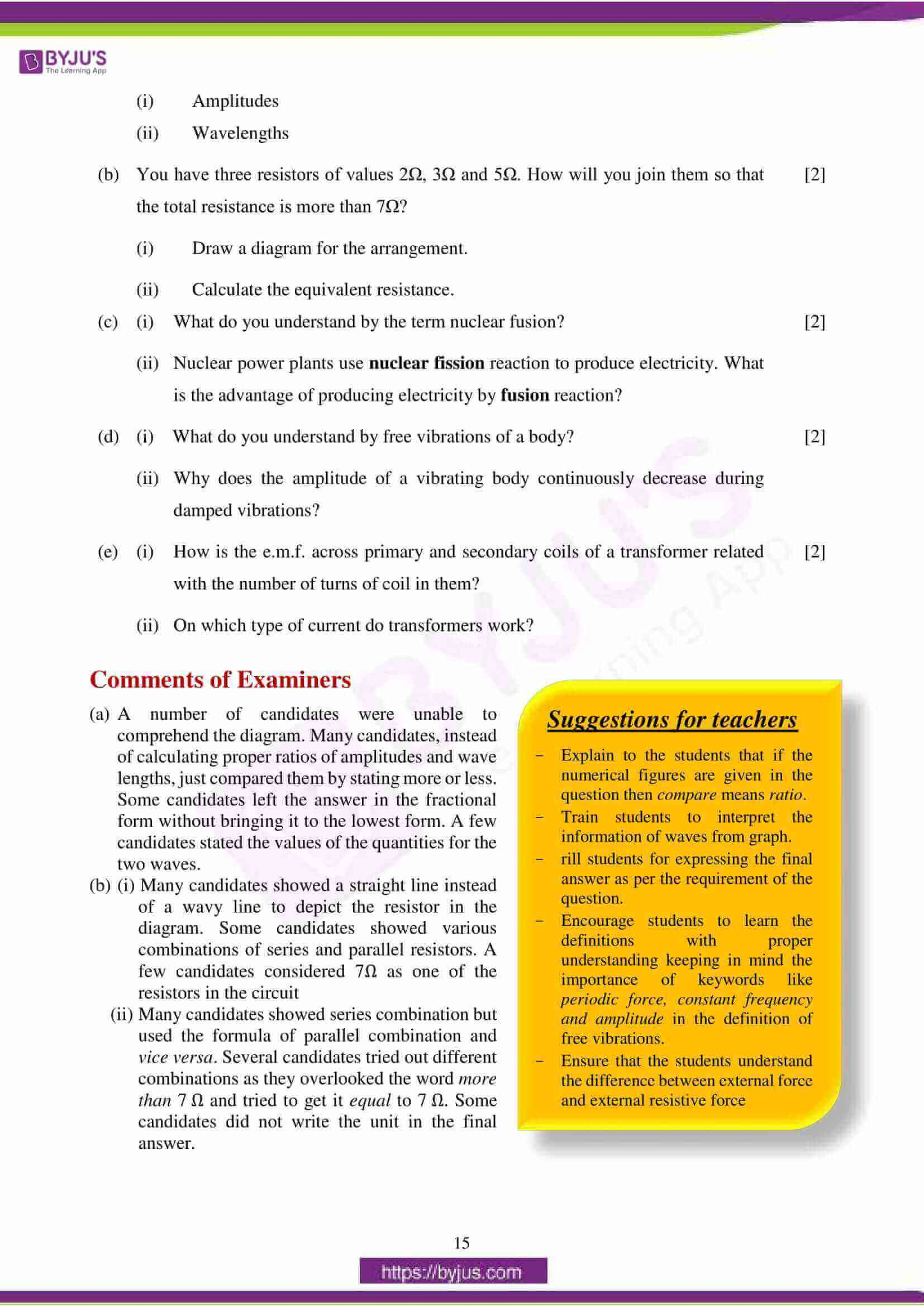 icse class 10 physics question paper solution 2018 06