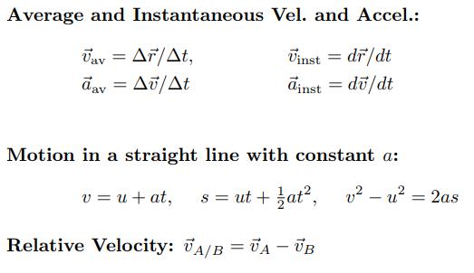 Kinematics formula