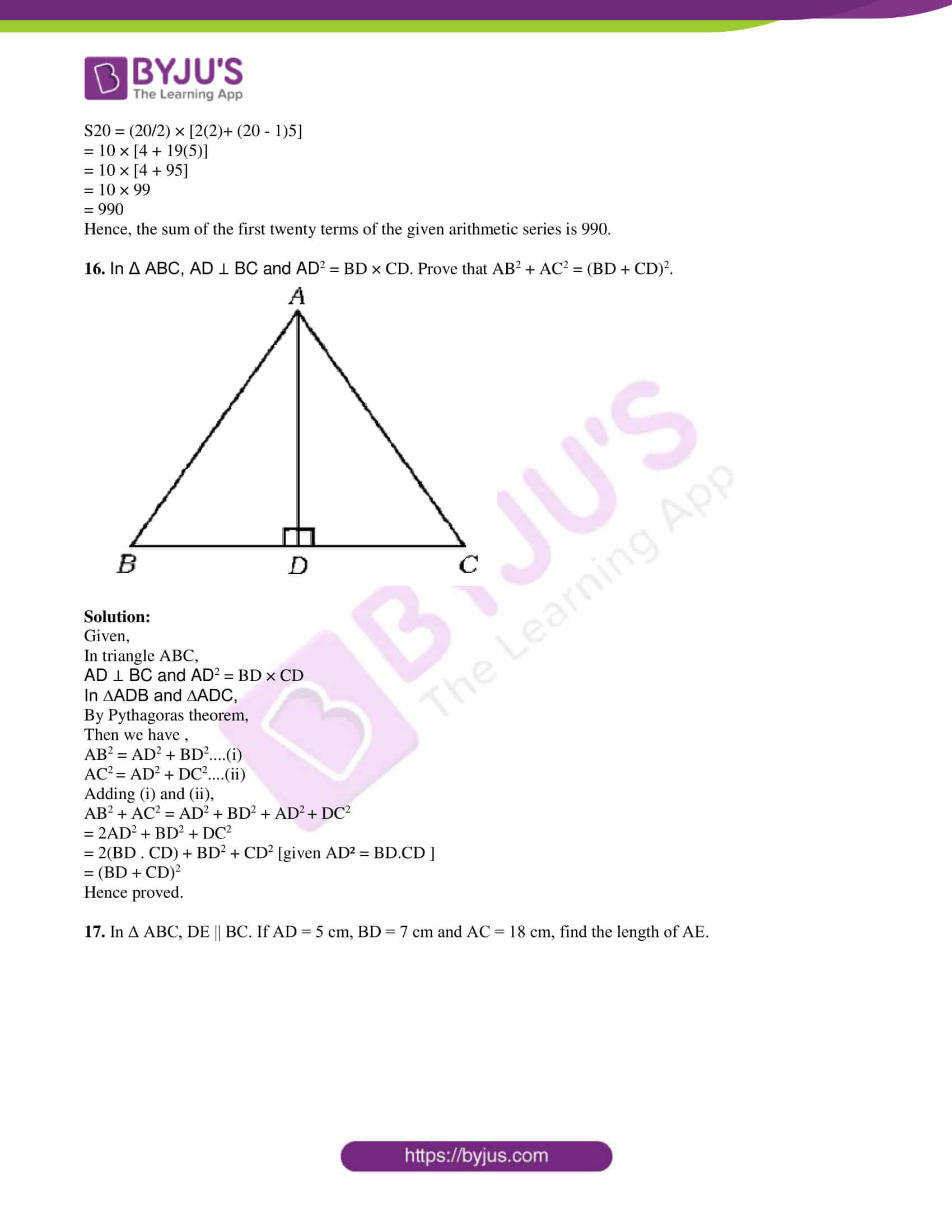 kseeb class 10 maths question paper solution 2019 06