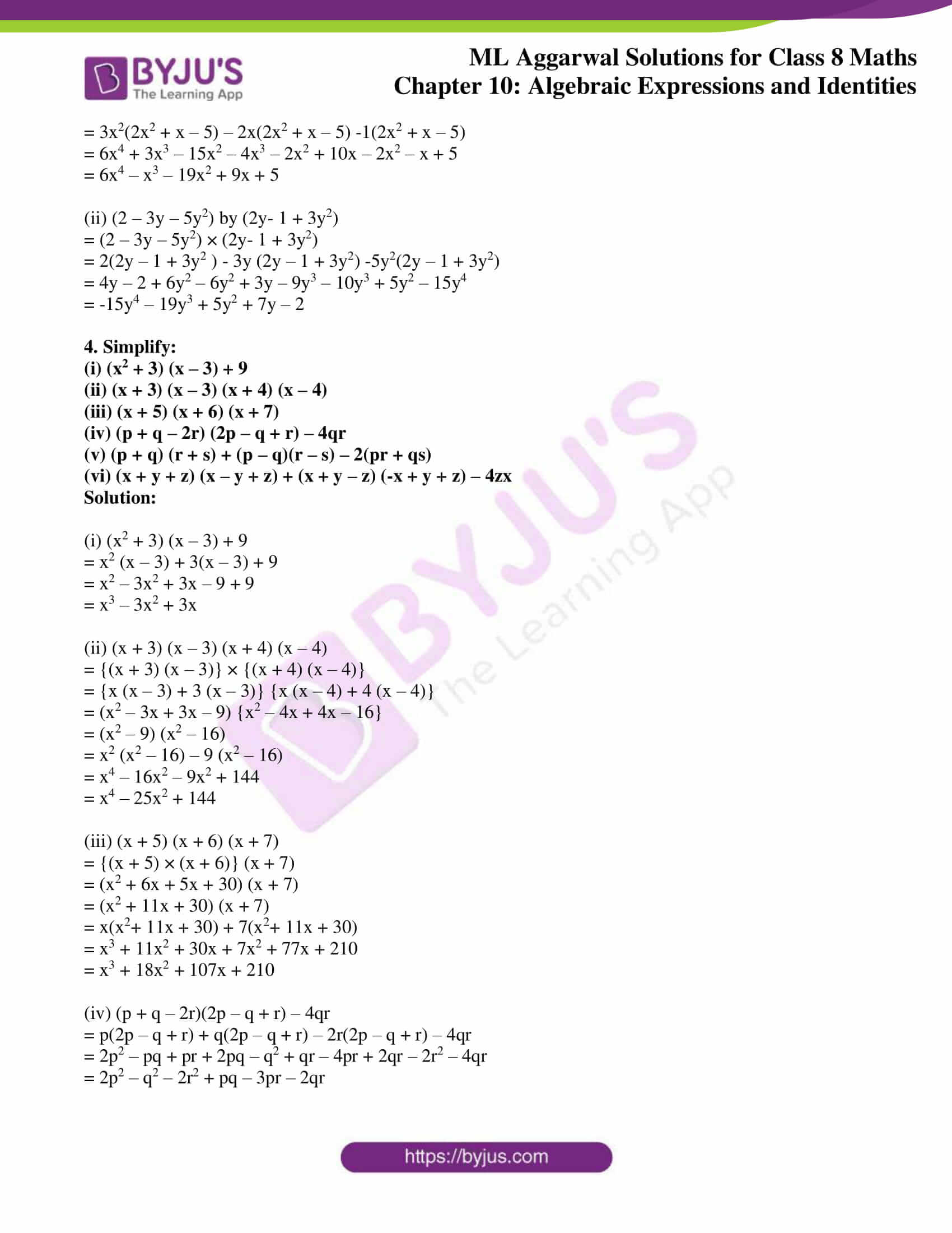 ml aggarwal sol mathematics class 8 ch 10 11