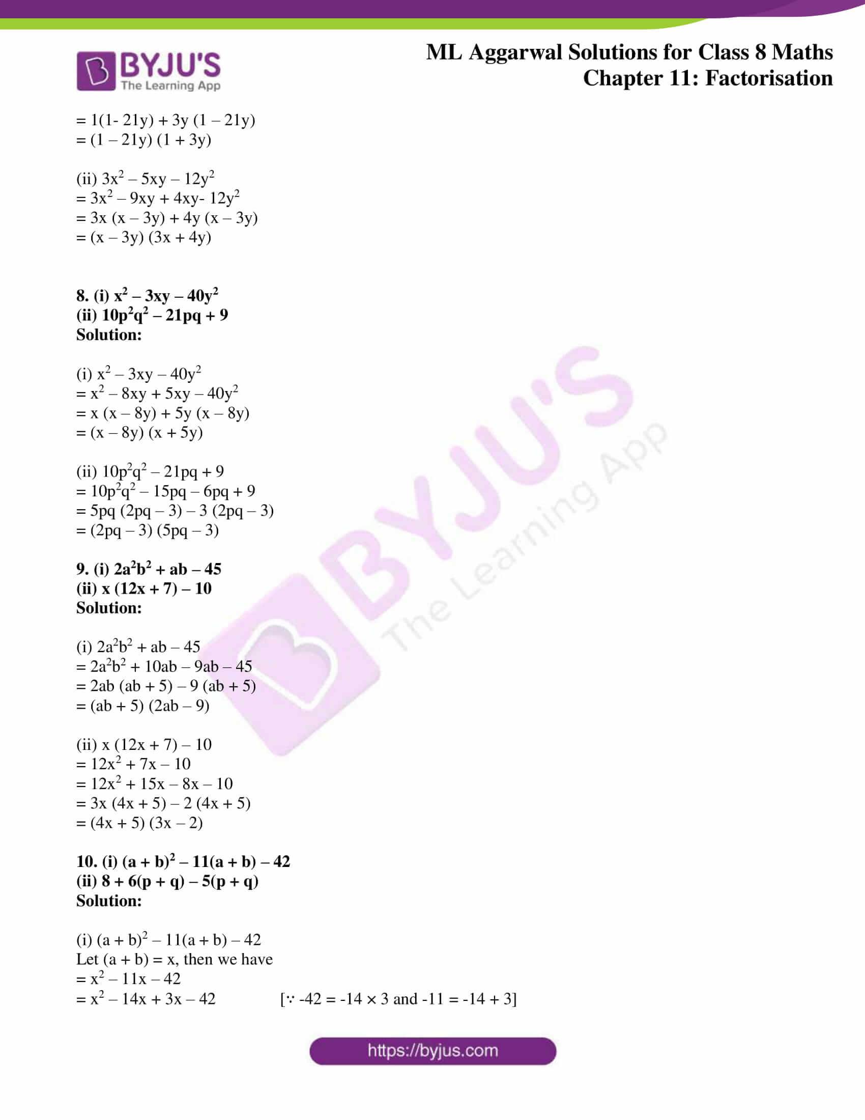 ml aggarwal sol mathematics class 8 ch 11 14