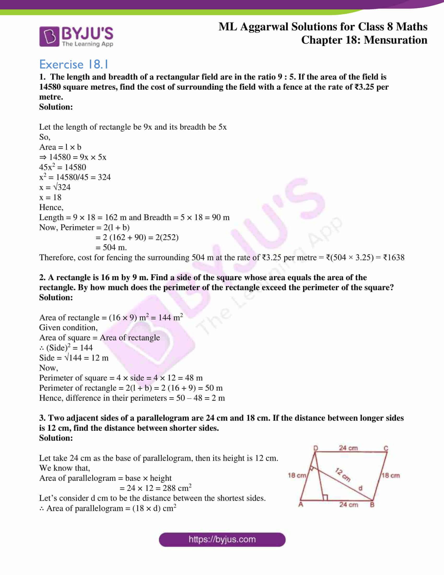 ml aggarwal sol mathematics class 8 ch 18 01