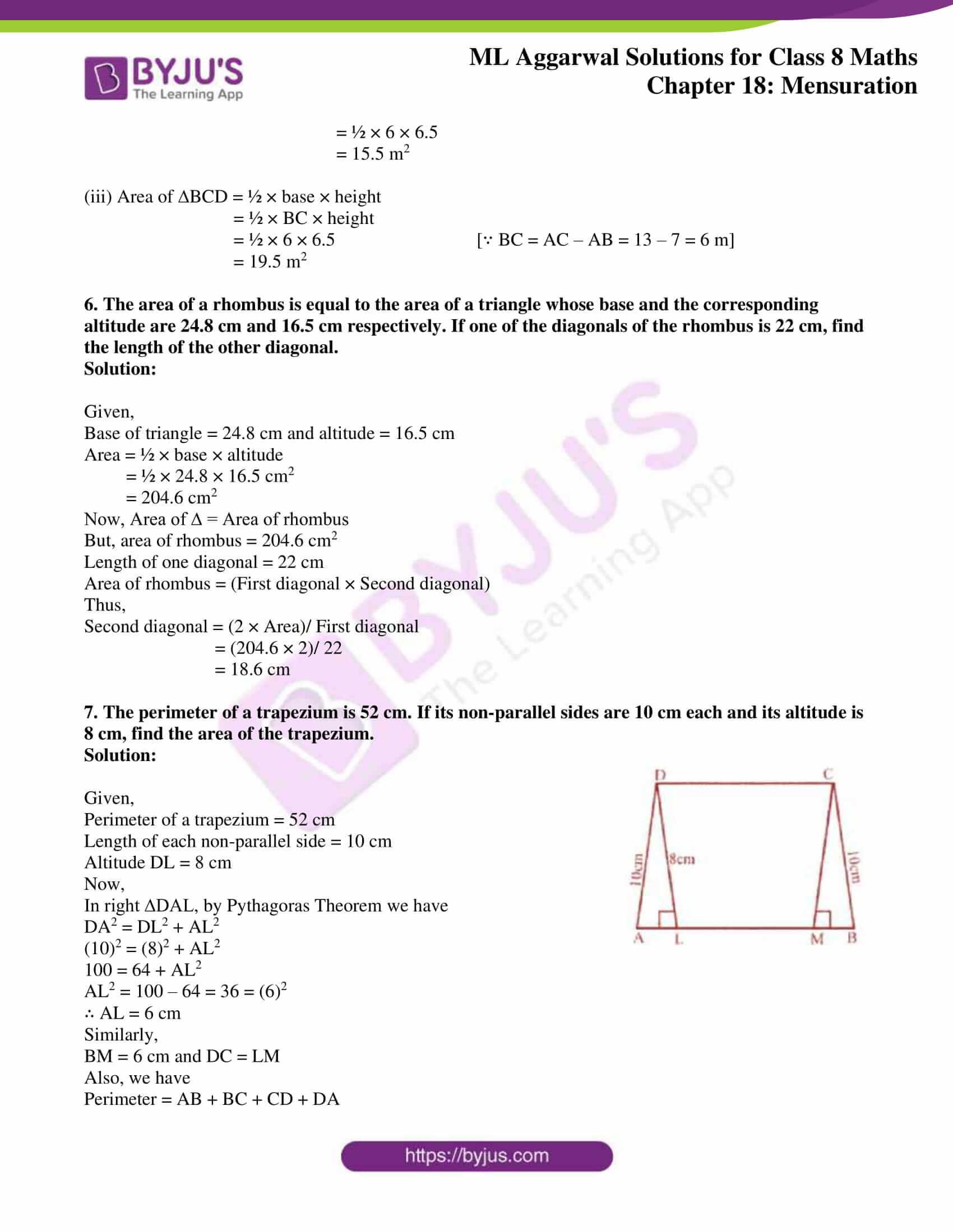 ml aggarwal sol mathematics class 8 ch 18 10