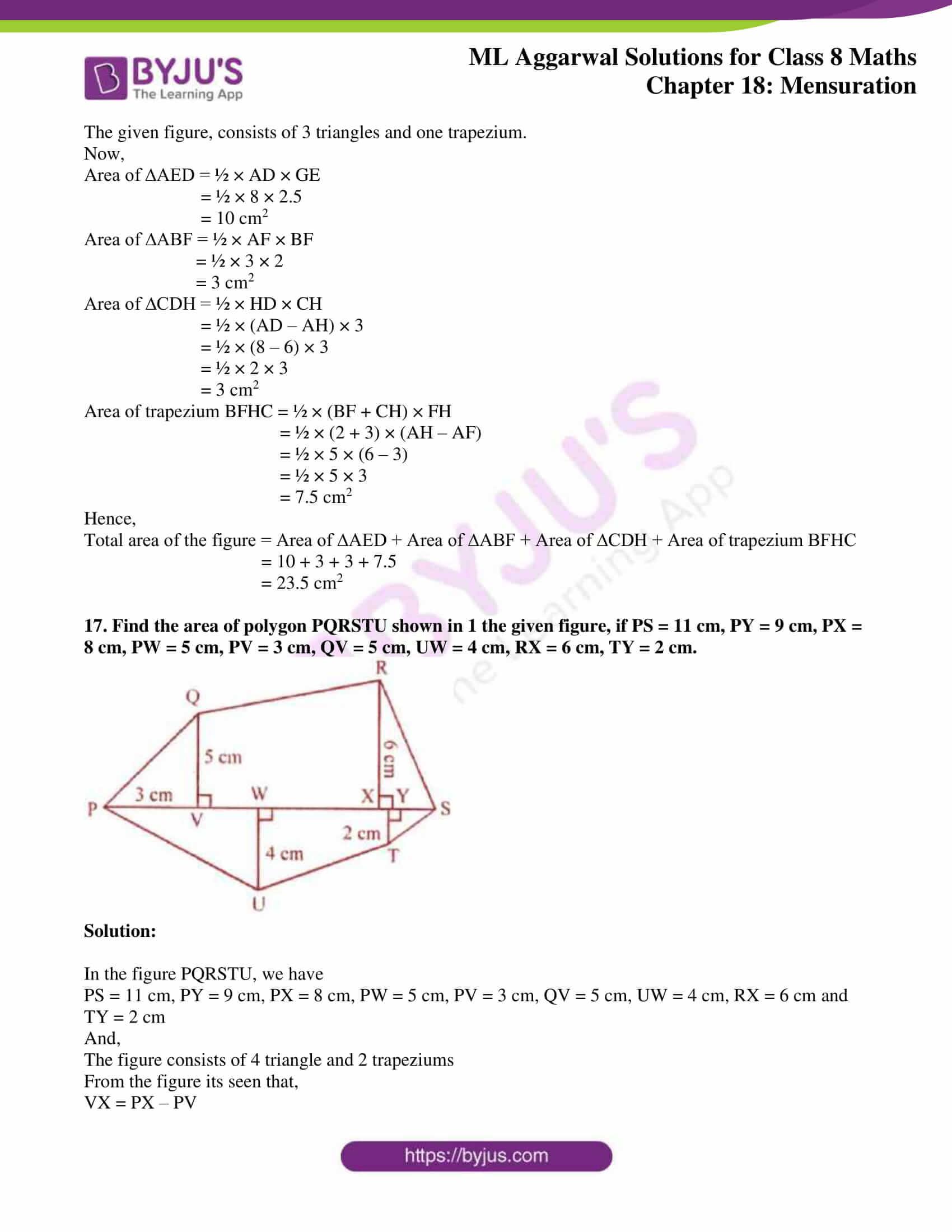 ml aggarwal sol mathematics class 8 ch 18 19
