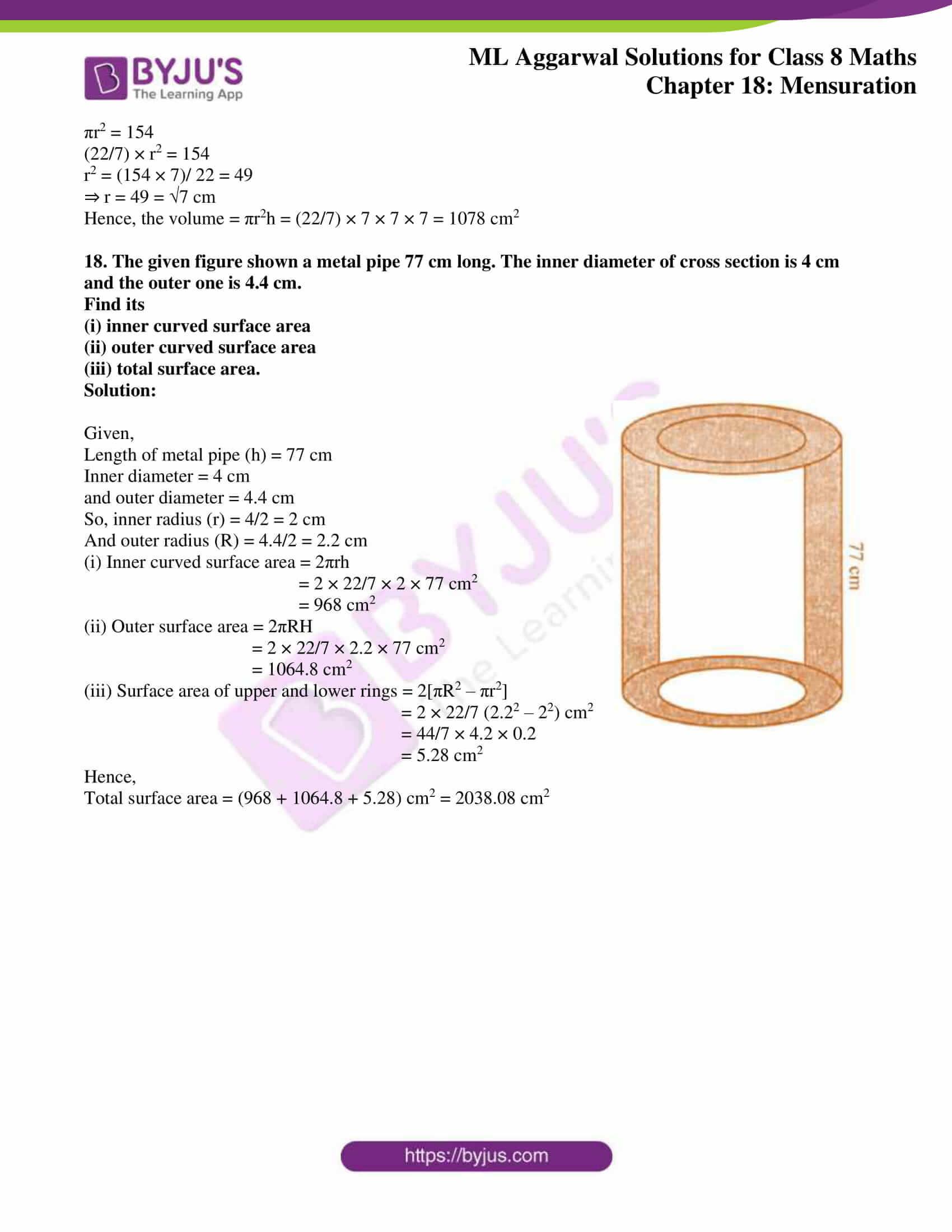 ml aggarwal sol mathematics class 8 ch 18 35