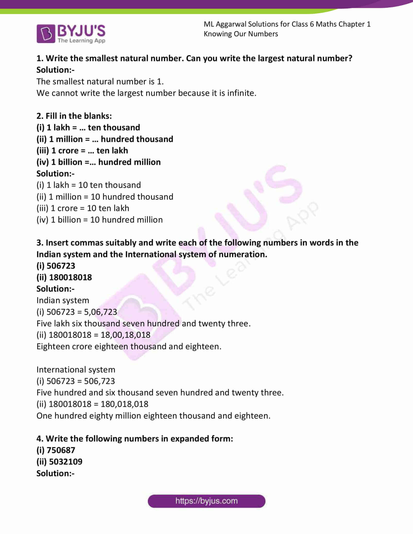 ml aggarwal solutions for class 6 maths chapter 1 1