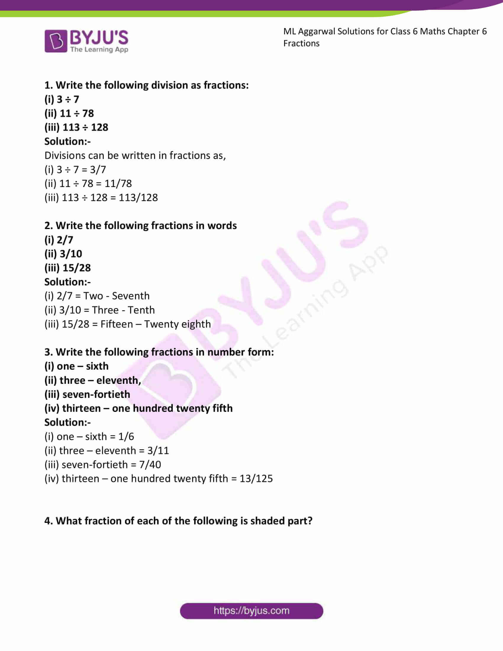ml aggarwal solutions for class 6 maths chapter 6 1