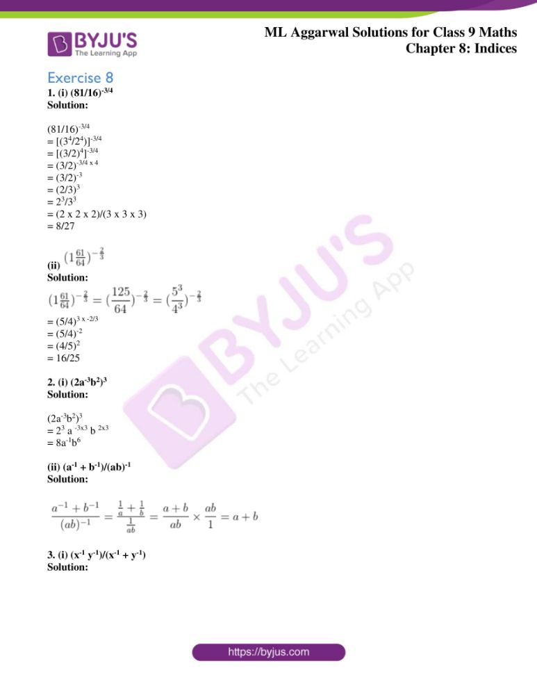 ml aggarwal solutions for class 9 maths chapter 8 1