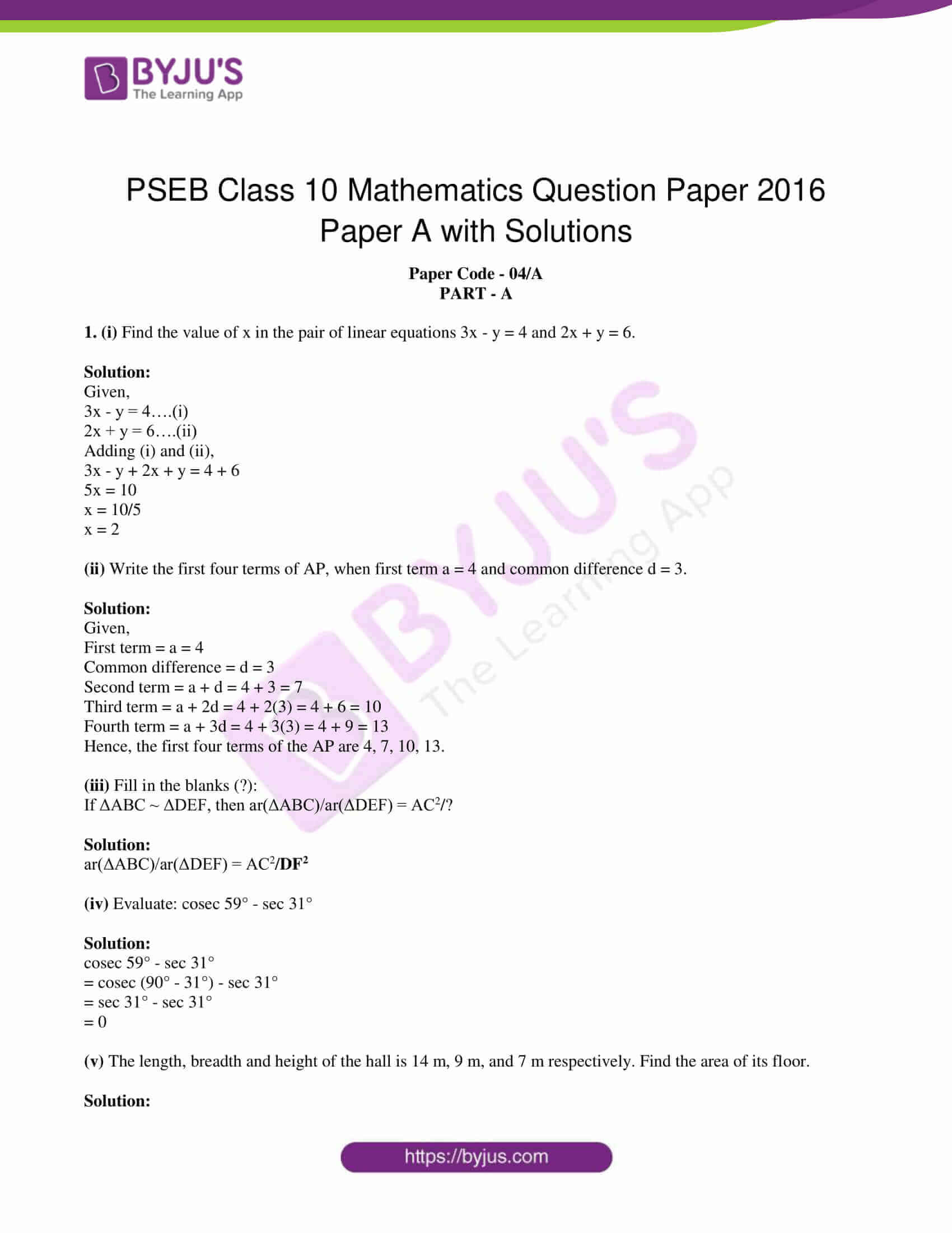 pseb class 10 mathematics question paper 2016 paper a with solutions 01