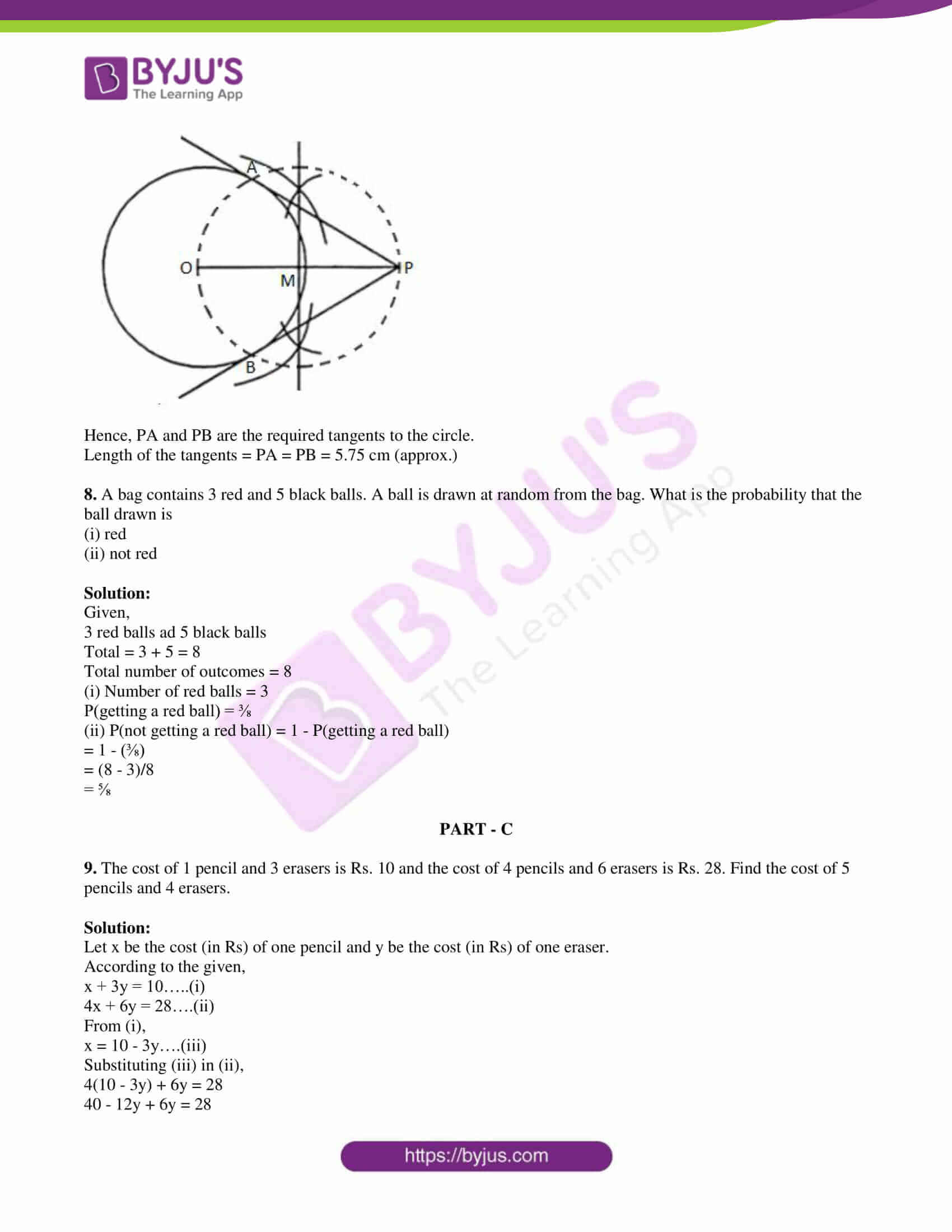pseb class 10 mathematics question paper 2017 paper a with solutions 06