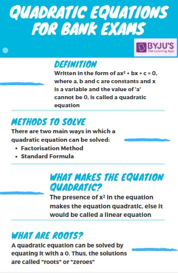 Quadratic Equations for Bank Exams