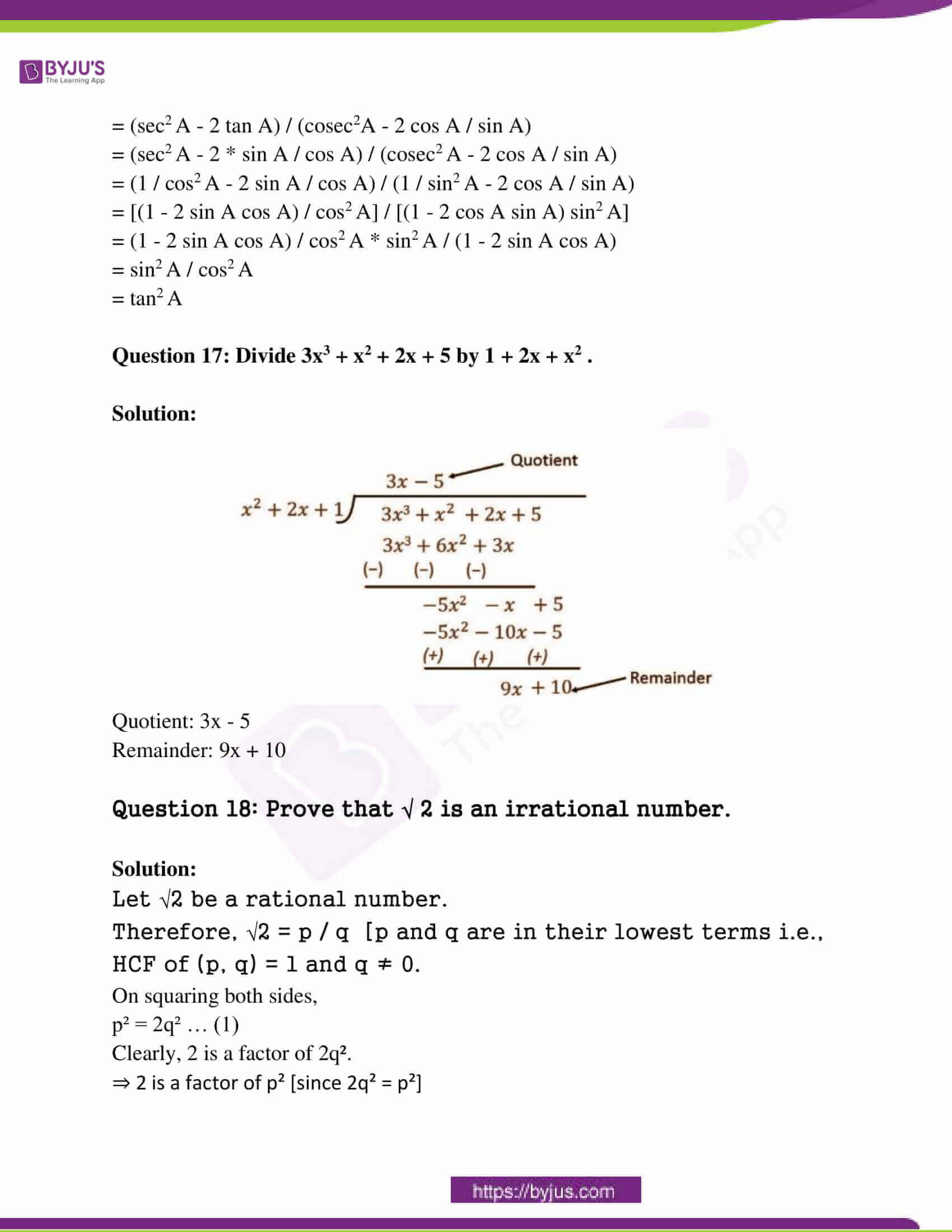 rajasthan board class 10 examination question paper sol march 2015 08