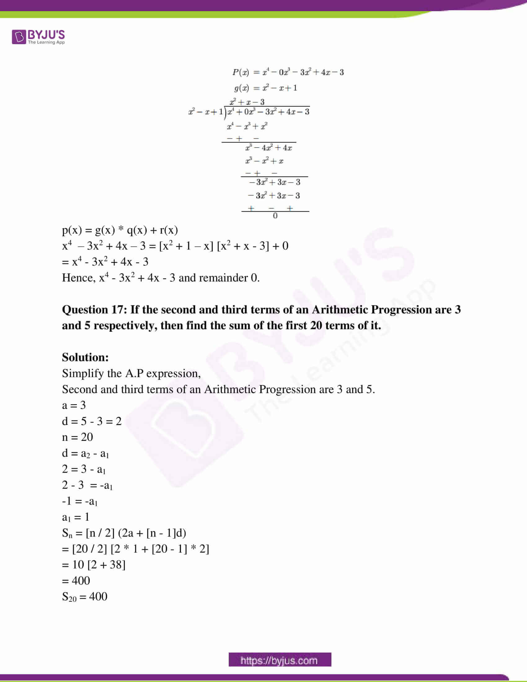 rajasthan board class 10 examination question paper sol march 2018 08