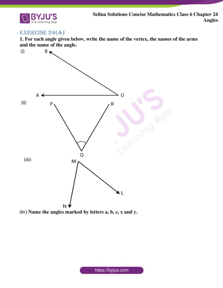 selina solutions for concise mathematics class 6 chapter 24 ex a 01