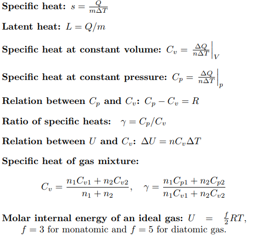 Specific Heat Capacity Formula