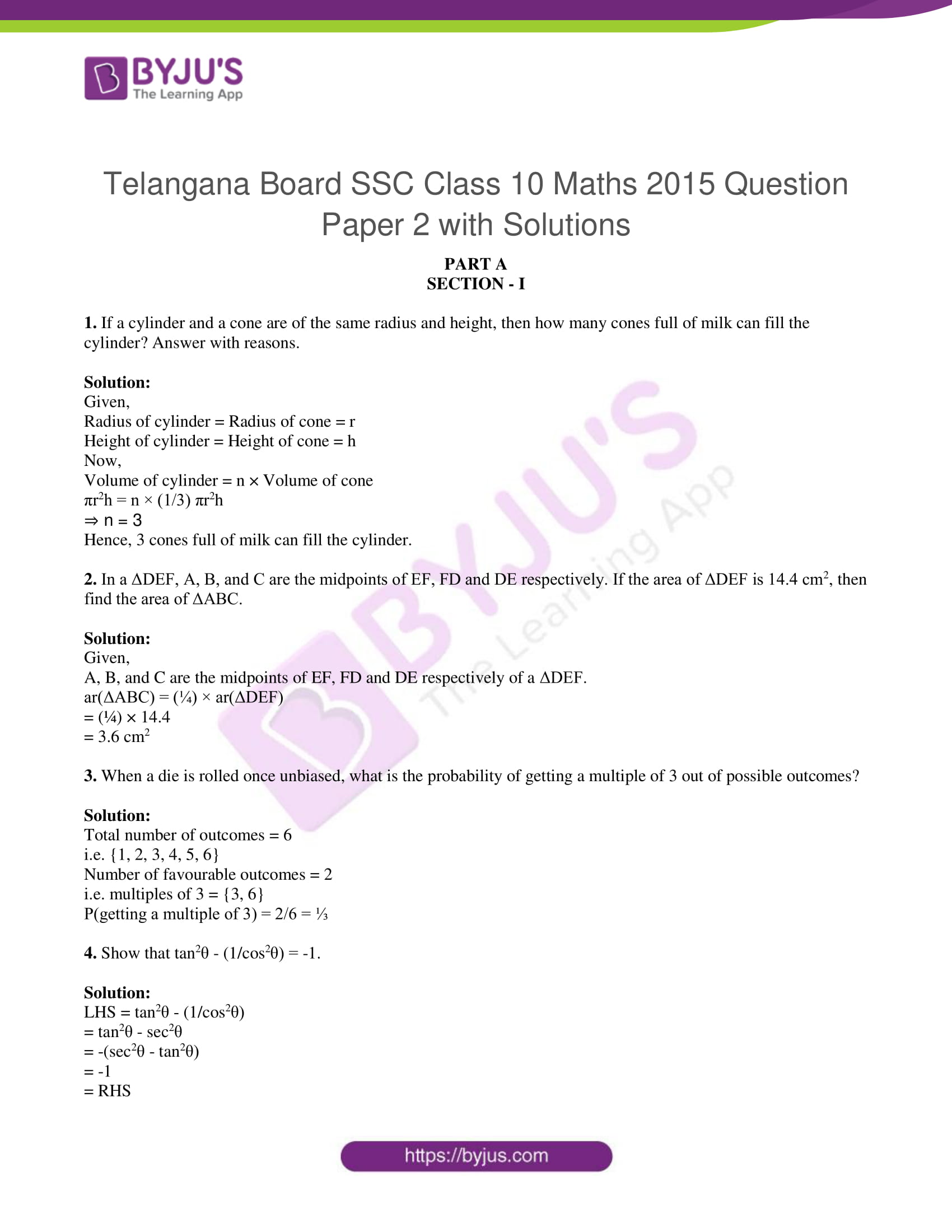 tl board ssc class 10 maths 2015 question paper 2 with sol 01