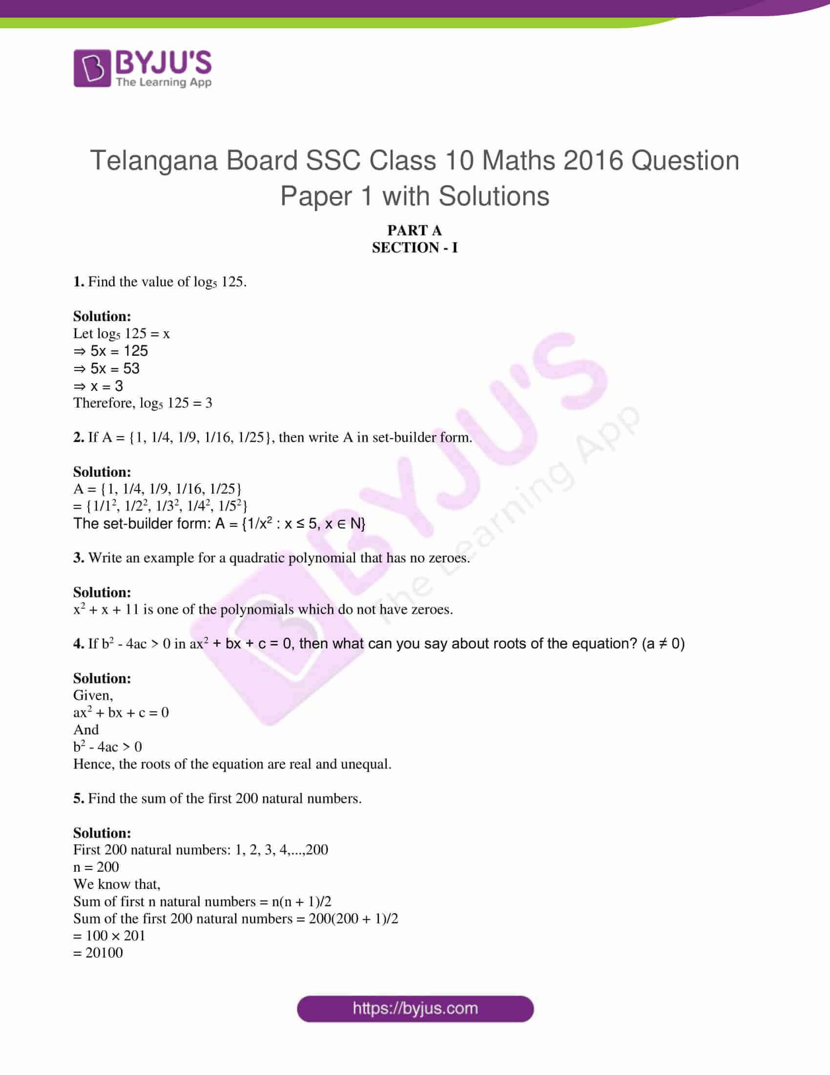 tl board ssc class 10 maths 2016 question paper 1 with sol 1