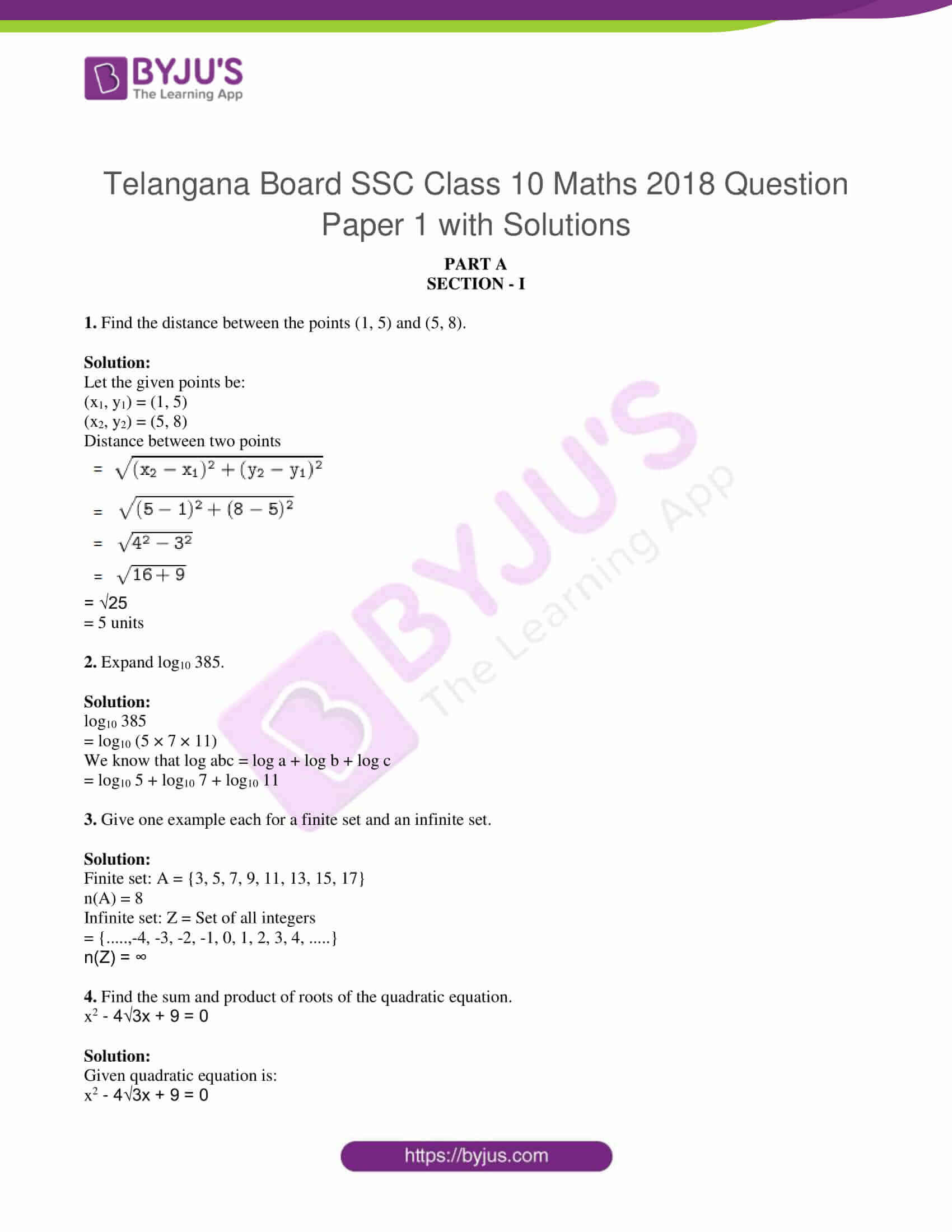 tl board ssc class 10 maths 2018 question paper 1 with sol 01