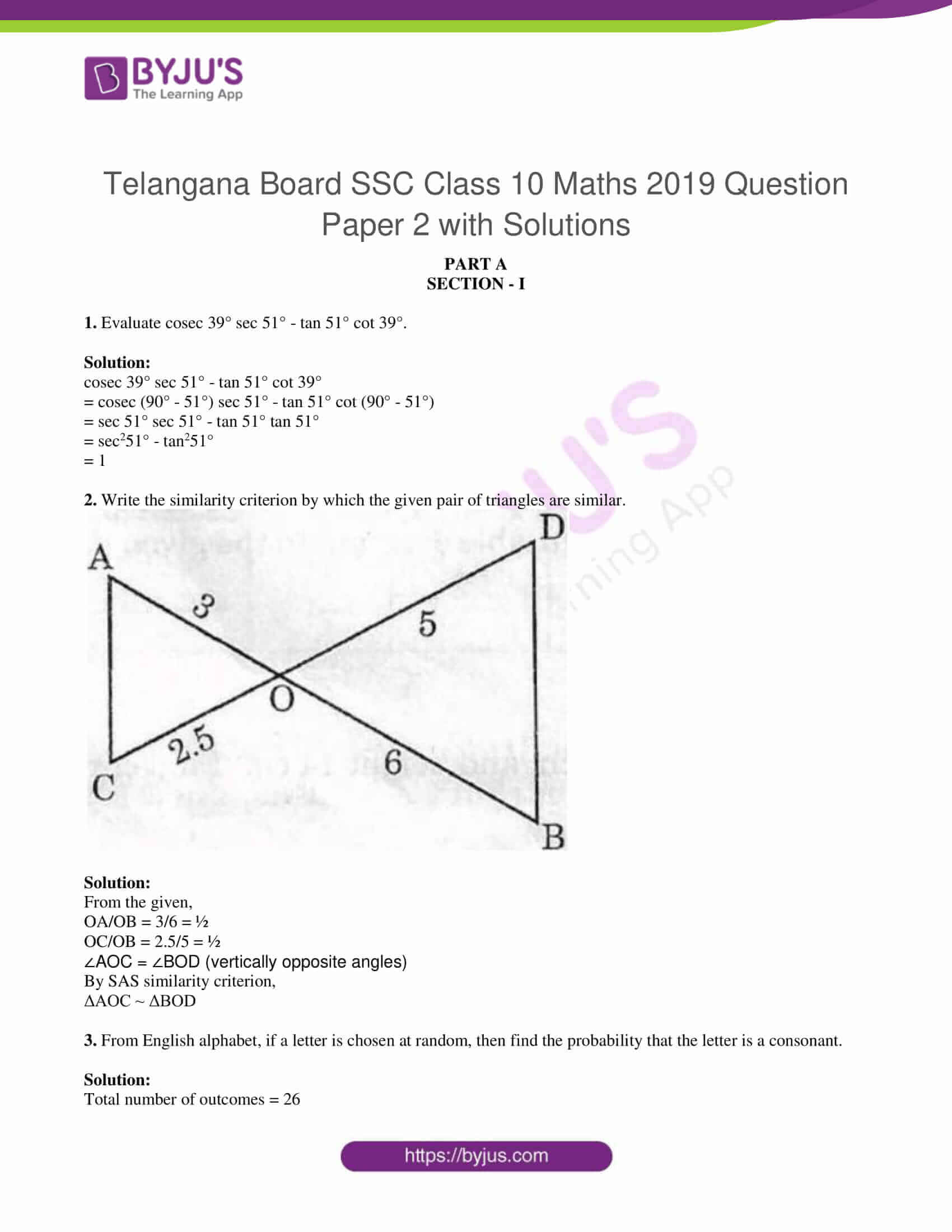 tl board ssc class 10 maths 2019 question paper 2 with sol 01