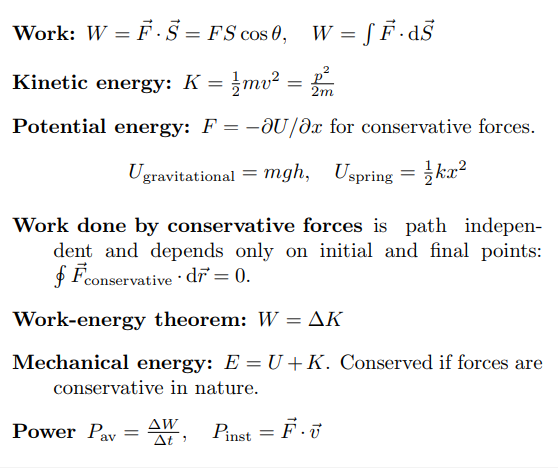 Work, Power and Energy Formula