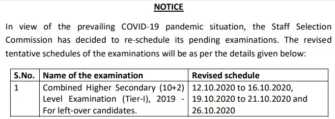 SSC CHSL Exam Date Revised 2019-2020