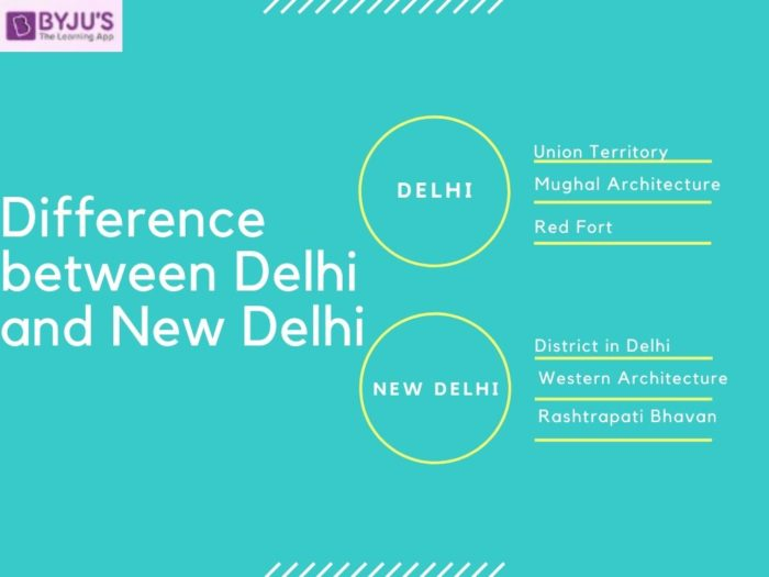 Difference between Delhi and New Delhi