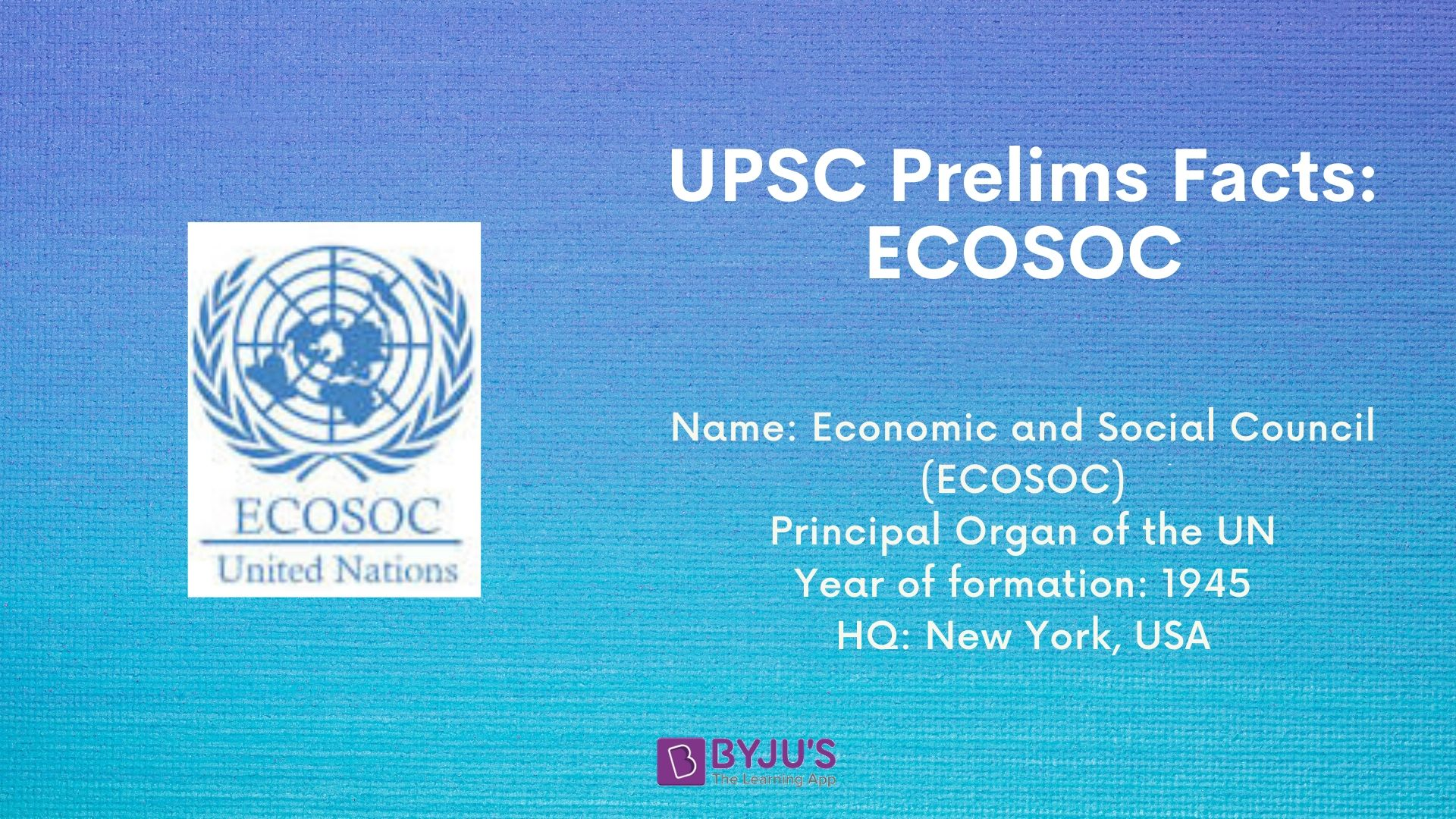 UPSC Prelims Facts - ECOSOC