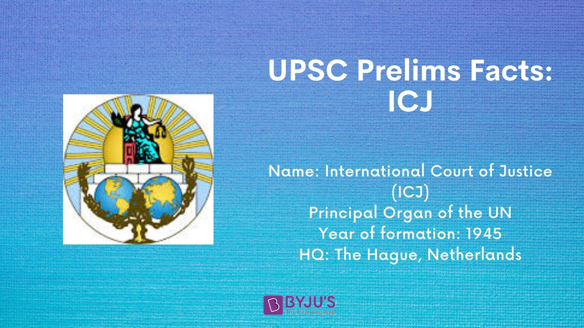 UPSC Prelims Facts - ICJ