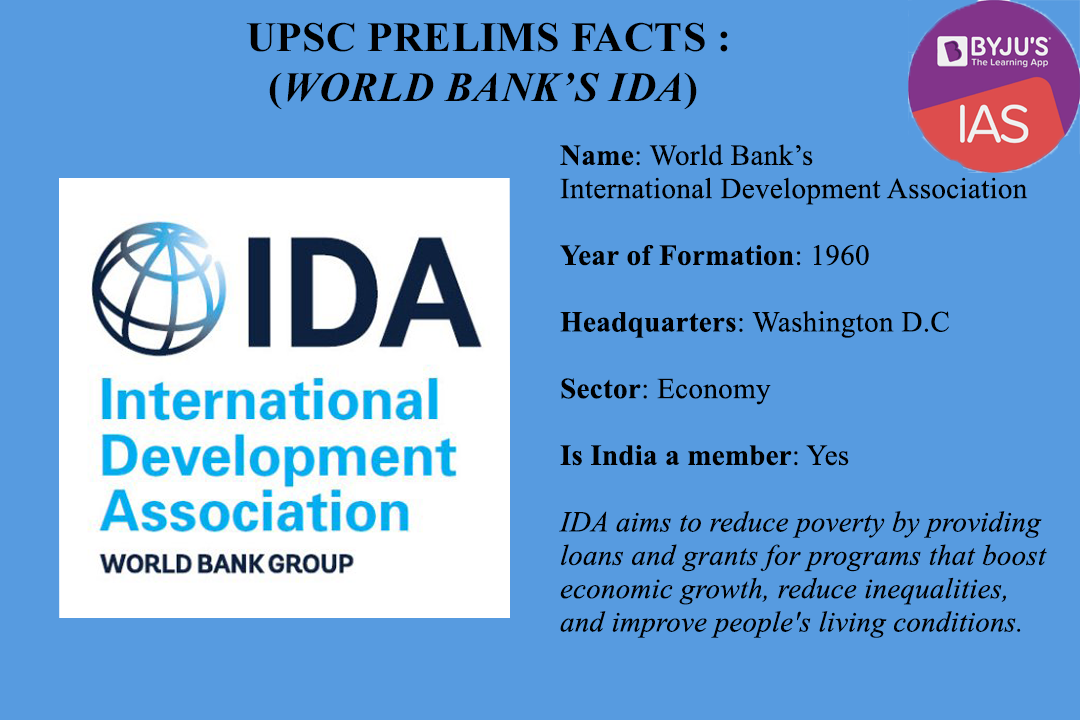UPSC Prelims Facts - IDA