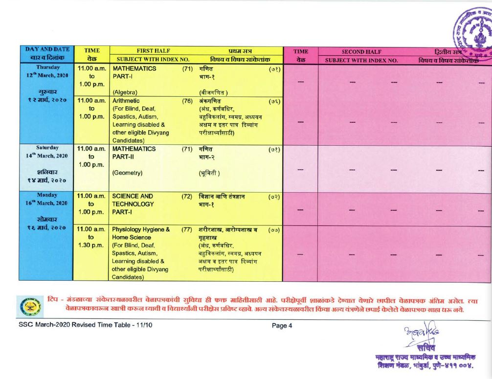 msbshse class 10 time table 2020-21