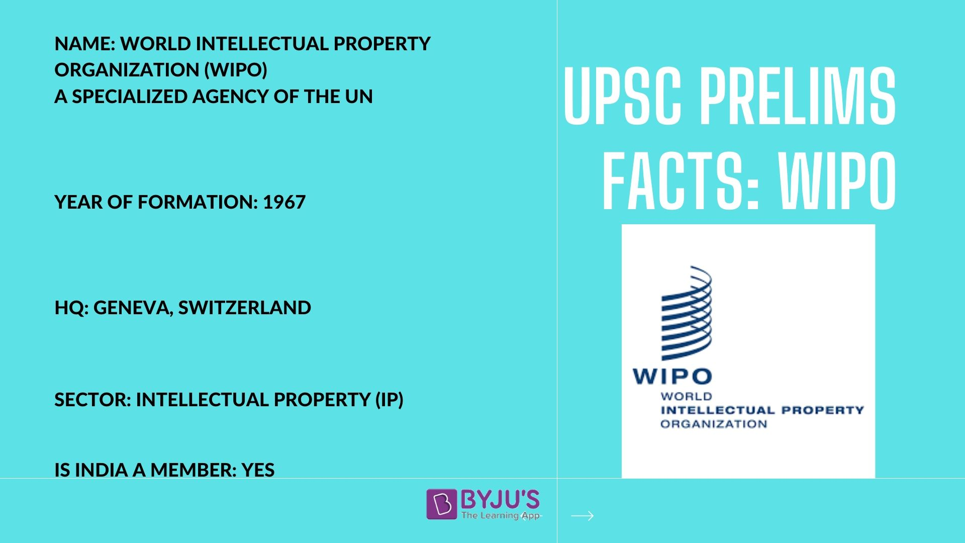UPSC Prelims Facts - WIPO